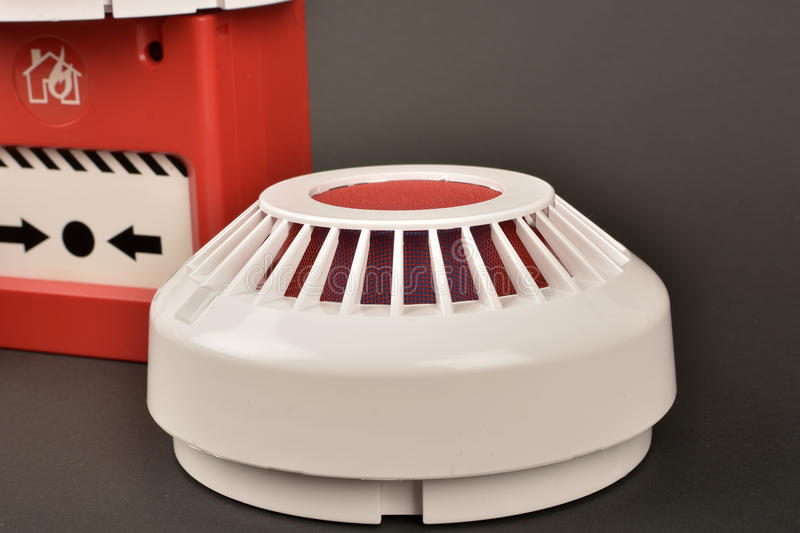 Fire alarm security on black. Background stock images
