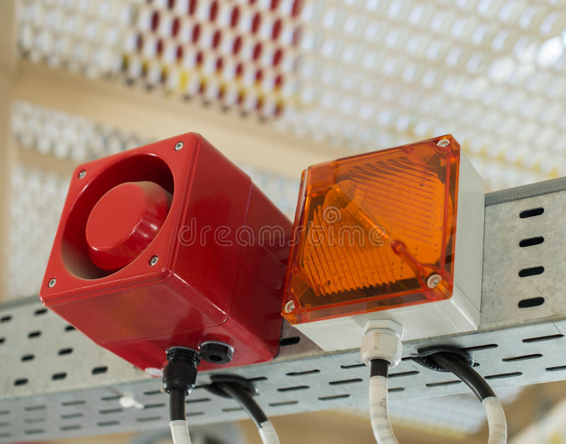 The fire alarm system. The combination of sound and light alert.  stock image