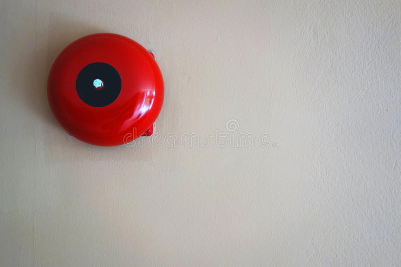 Fire alarm on the wall of Department store building. royalty free stock images