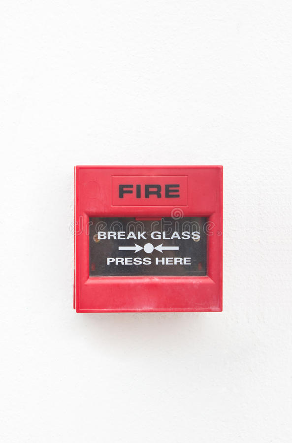Fire Alarm On White Wall. Royalty Free Stock Photo