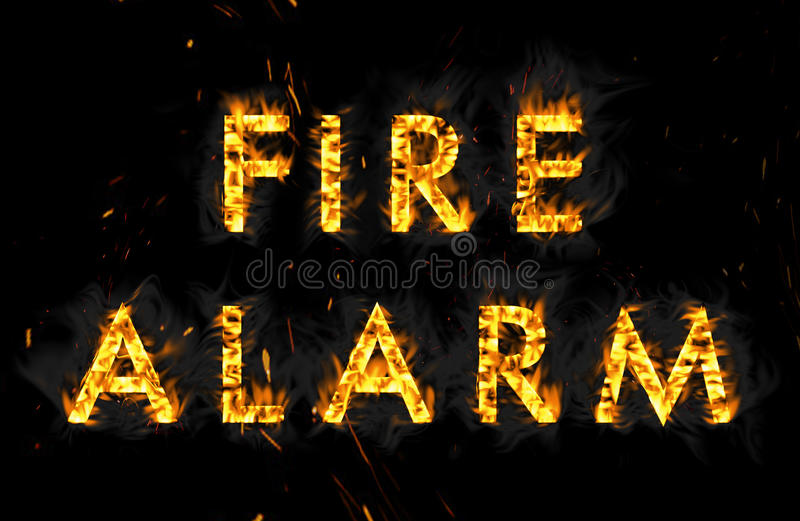Fire alarm. The word in flames on black background. Fire alarm. The word in flames on a black background stock image