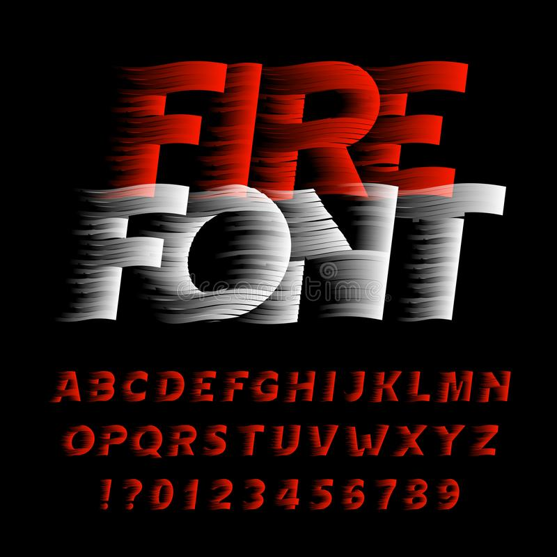 Fire alphabet font. Eeffect type letters and numbers on black background. Stock vector typeface. Easy color change stock illustration
