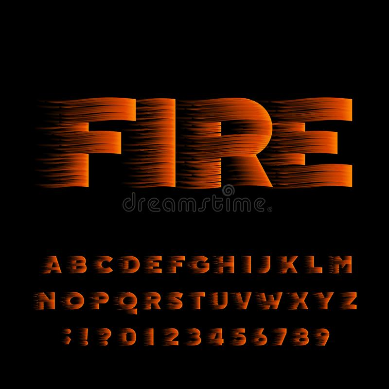 Fire alphabet font. Flame effect bold type letters and numbers. Stock vector typeset vector illustration