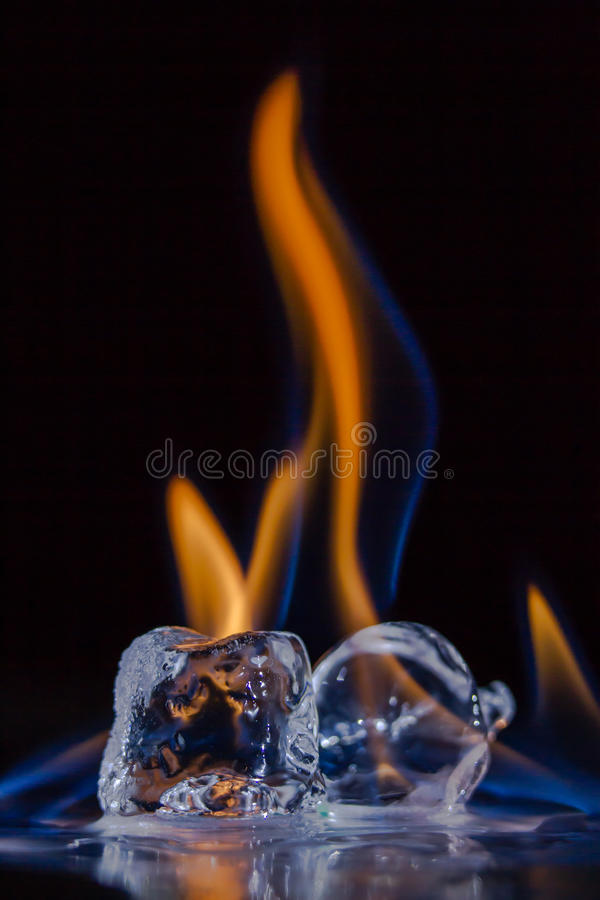 Free Fire And Ice: Burning Ice Cubes Royalty Free Stock Image - 61107296
