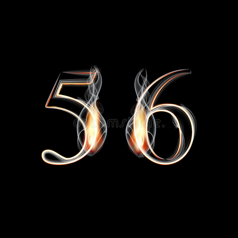 Free Fire And Smoke Font. Numbers 5 6. Royalty Free Stock Photos - 45758588