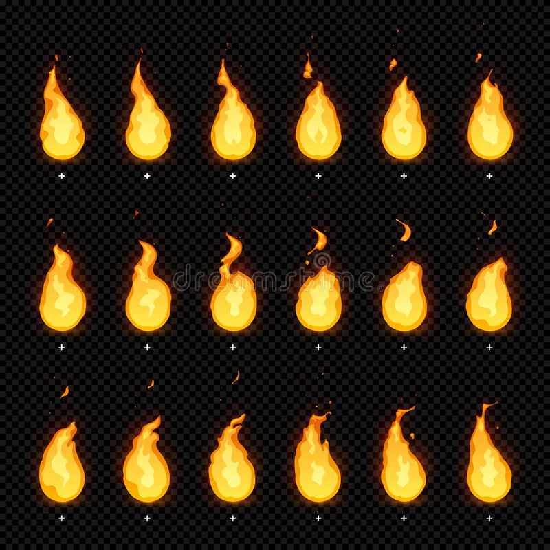 Free Fire Animation. Flaming Flame, Fiery Blaze And Animated Blazing Fire Flames Isolated Vector Animations Frames Royalty Free Stock Photo - 130698545