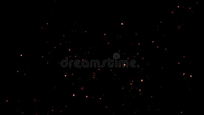 Fire sparks flying up. Glowing particles on a dark background textire for copy space. Fire articles embers isolated on smoke black background royalty free stock image