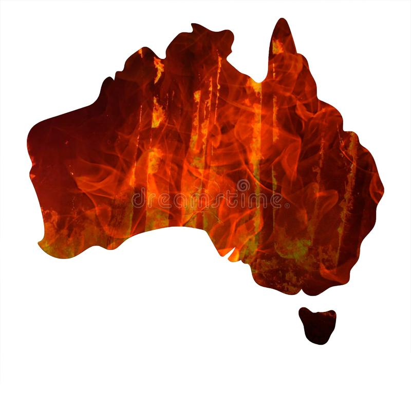 Fire in Australia. Map of australia burn. Animals killed in Fiers. Catastrophe and apocalypse. Pray for Australia. Fire in Australia. Animals killed in Fiers royalty free stock photos