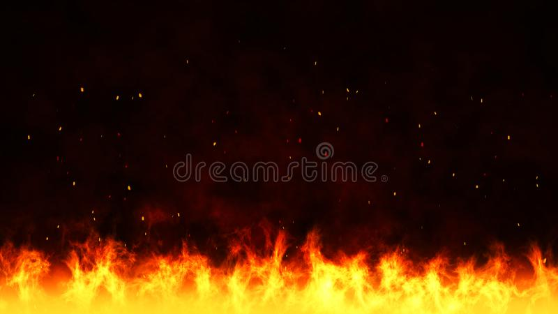 Fire background with dark cloud royalty free stock photography