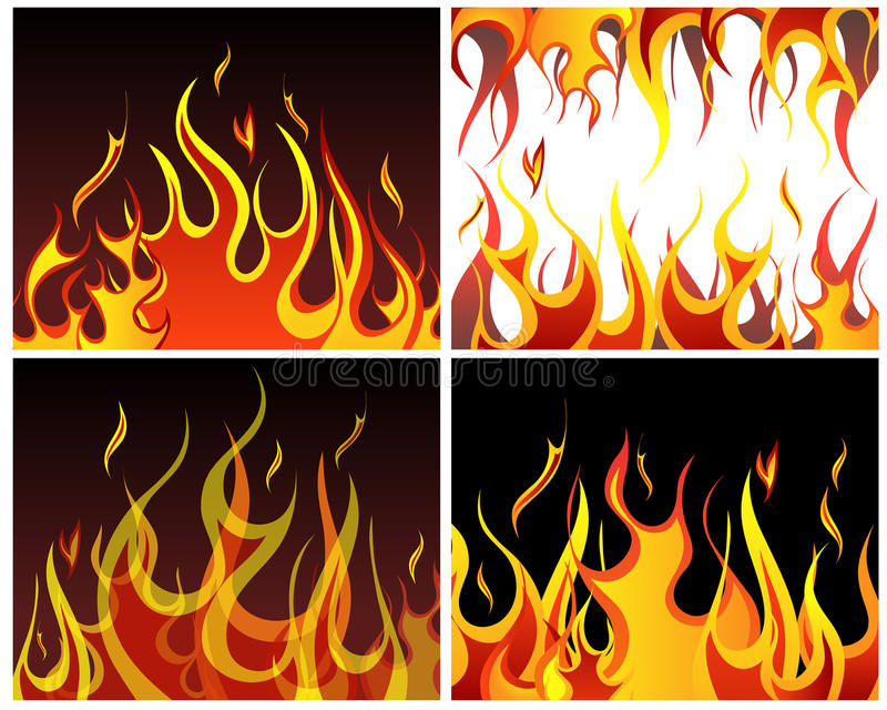 Fire backgrounds set. Inferno fire vector backgrounds set for design use vector illustration