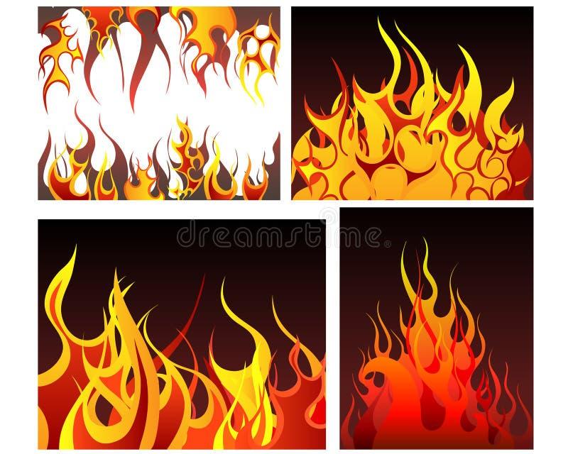Fire backgrounds set. Inferno fire vector backgrounds set for design use royalty free illustration