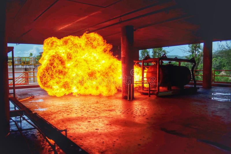 Fire Ball The explosion. Big fire ball testing for work with stuntman songkha Thailand stock images