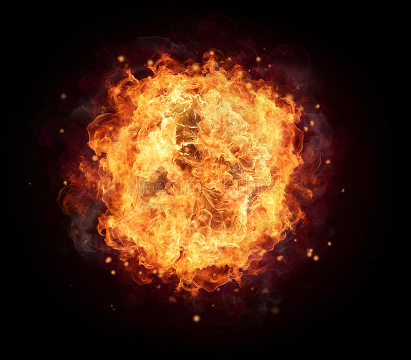 Fire ball. With free space for text. isolated on black background stock image