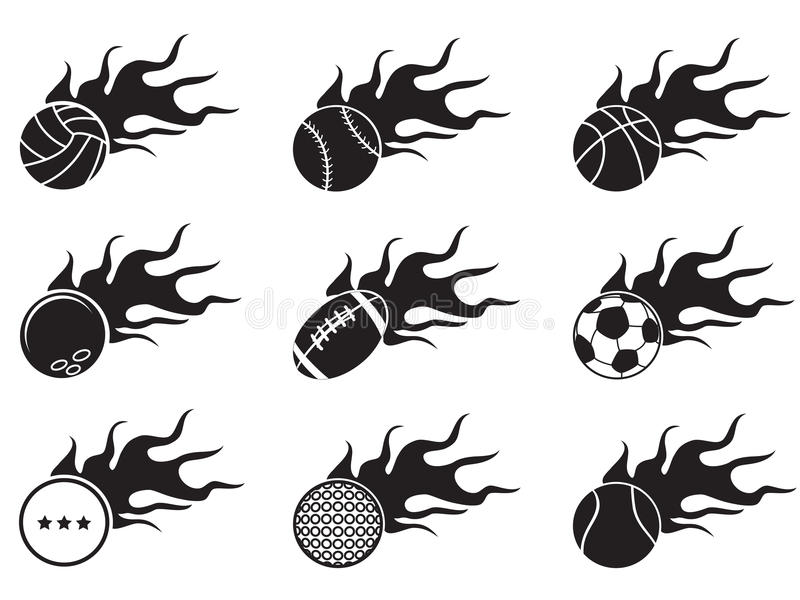 Fire ball icons stock illustration