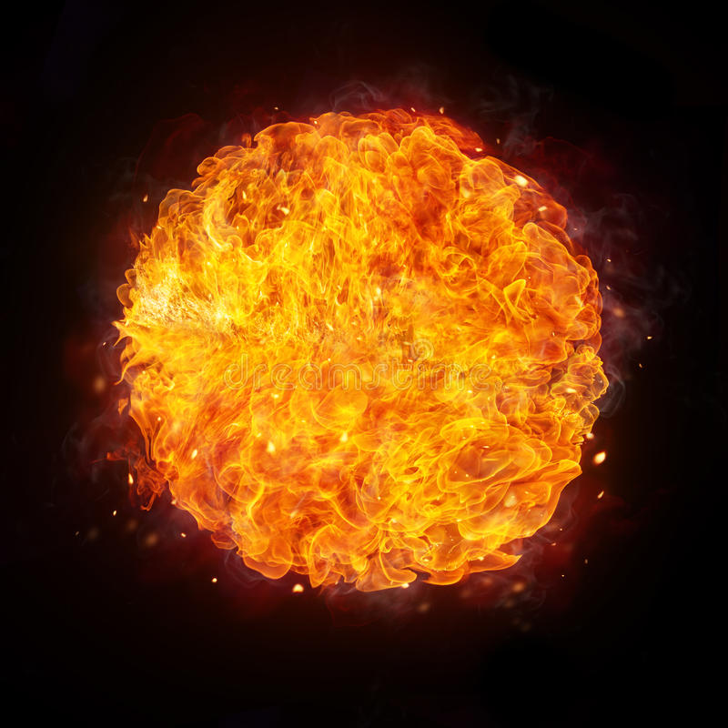 Fire ball isolated on black background. Abstract shape of fire ball isolated on black background royalty free stock image