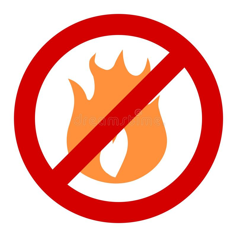 Fire ban. No fires - forbidden bonfires and campfires. Fire banned in forest - vector sign royalty free illustration