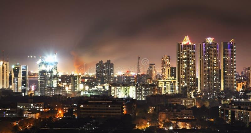 Fire in Bandra Mumbai nightline stock photos
