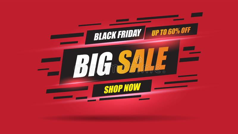 Black Friday Sale banner speed light layout on red background with discount 60% off.Template design for list, page. stock images