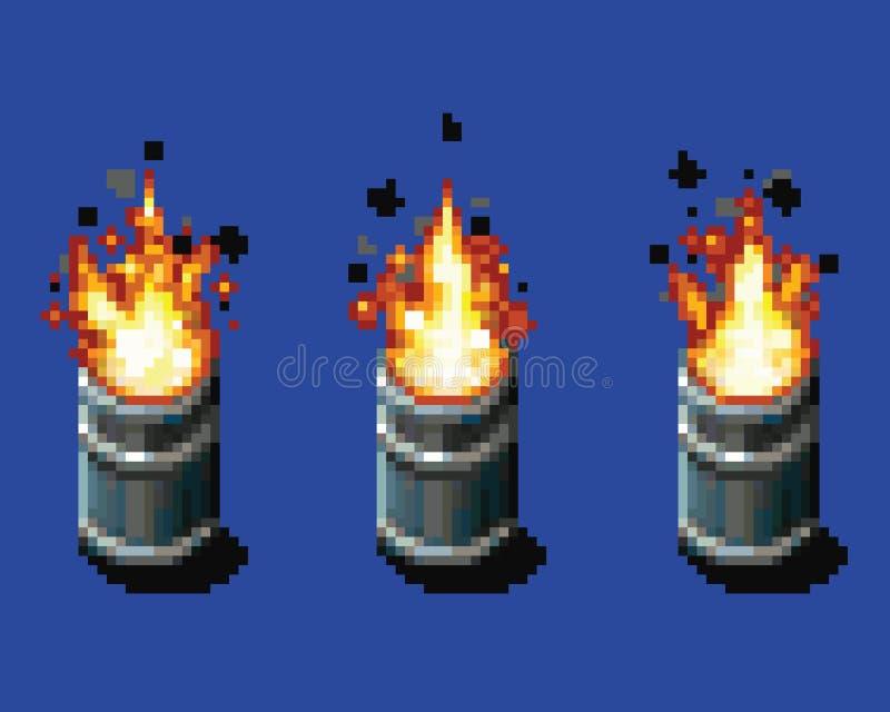 Fire in the barrel - animation frames video game asset pixel art vector layer illustration. Fire in the barrel - animation frames video game asset pixel art royalty free illustration