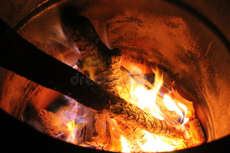 Fire in a barrel stock photos