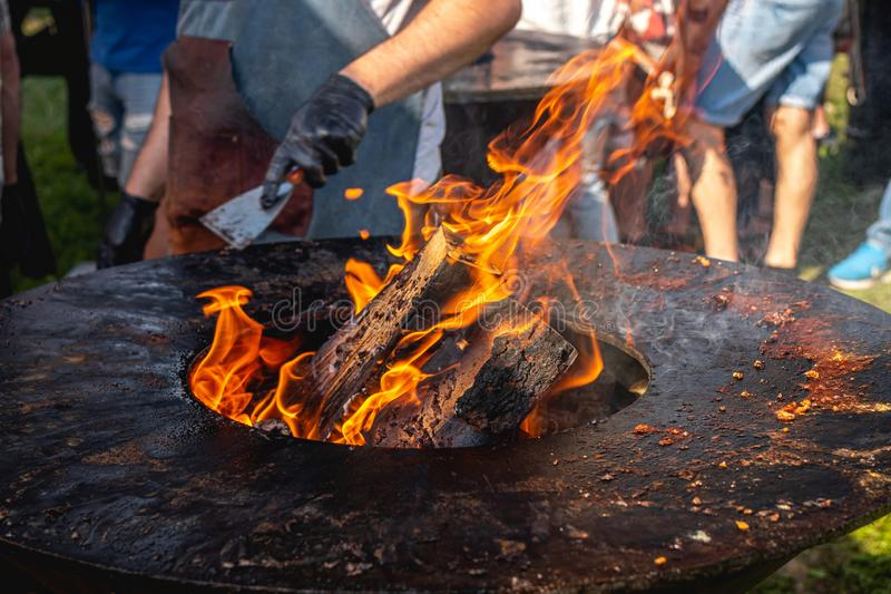 Fire BBQ. Flame grill closeup, outdoor barbecue. Charcoal stock photo