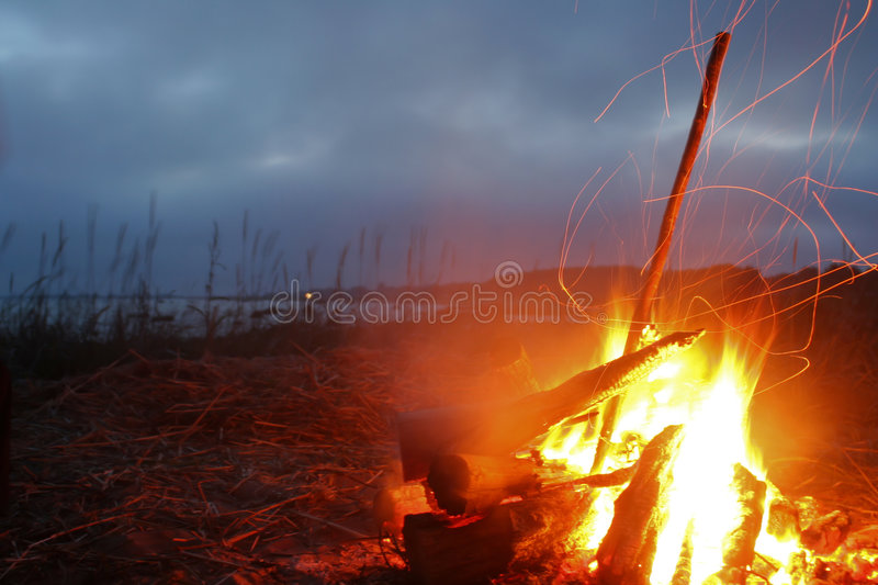 Fire on a beach. Lonely night fire on seacoast in the summer royalty free stock photography