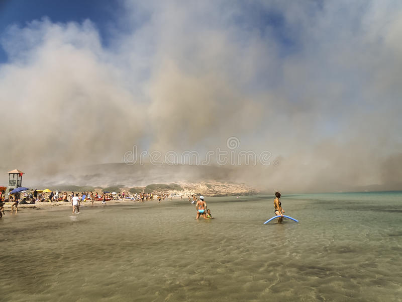 Download Fire on the beach editorial stock image. Image of mediteranean - 37063899