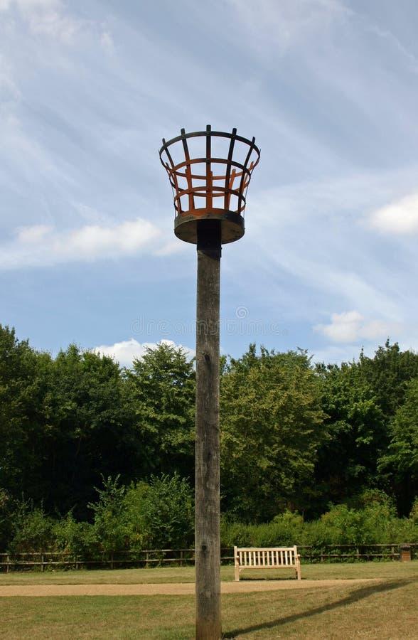 Fire beacon in a park stock photo