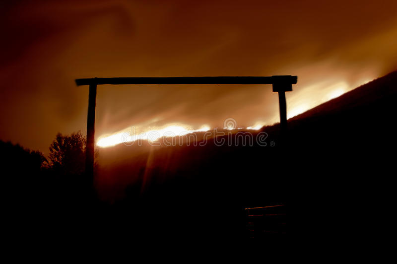 Download Fire Behind The Gate Editorial Stock Image - Image: 32880394