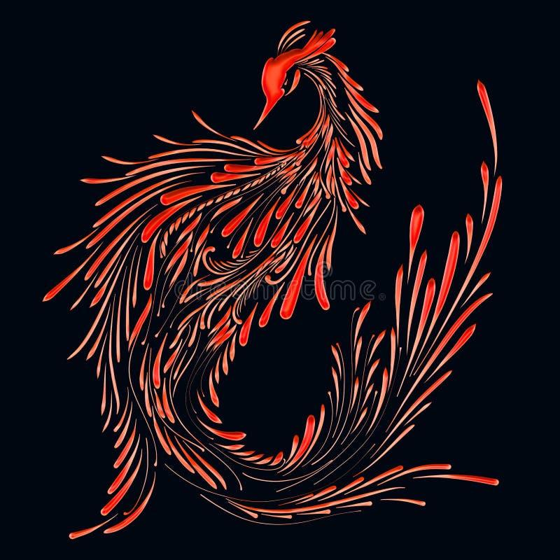 Fire bird on a black background, red phoenix, pattern royalty free illustration