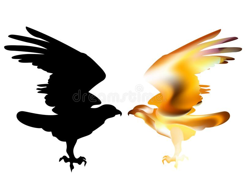 Fire Bird Eagle In Flight As Symbol Of Power And Freedom Stock