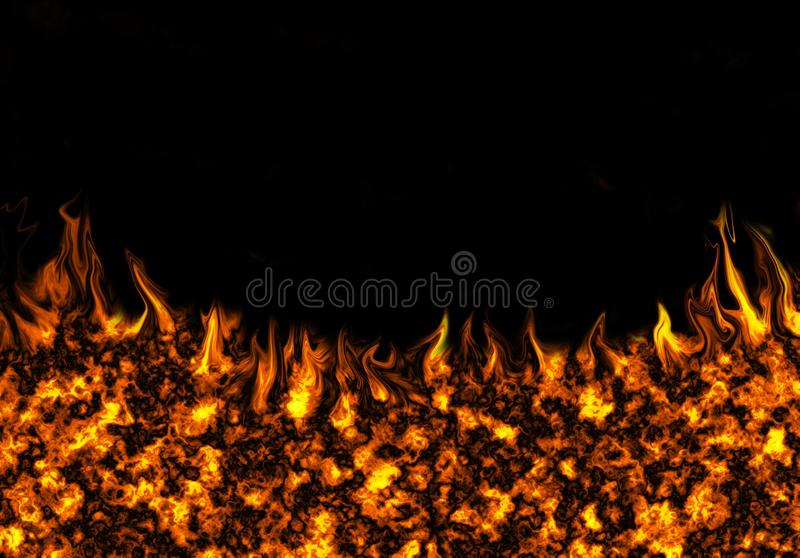Fire on a black background. Fiery abstract background on a black background stock illustration