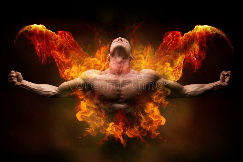On fire bodybuilder royalty free stock photos