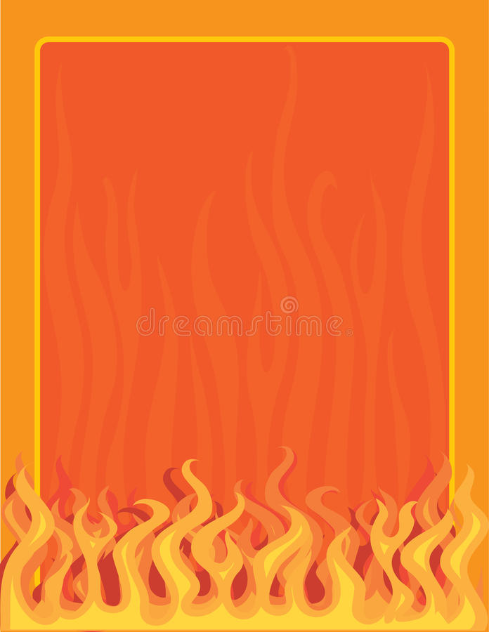 Fire Border. A border or frame featuring fire and flames along the bottom edge royalty free illustration