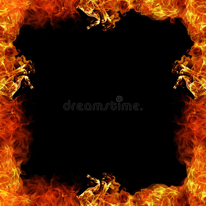 Fire Border. Frame in burning flames royalty free illustration