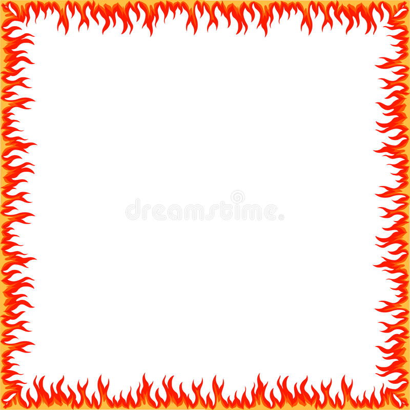 Fire Border. Fire frame Border tribal style hand drawn abstract vector illustration