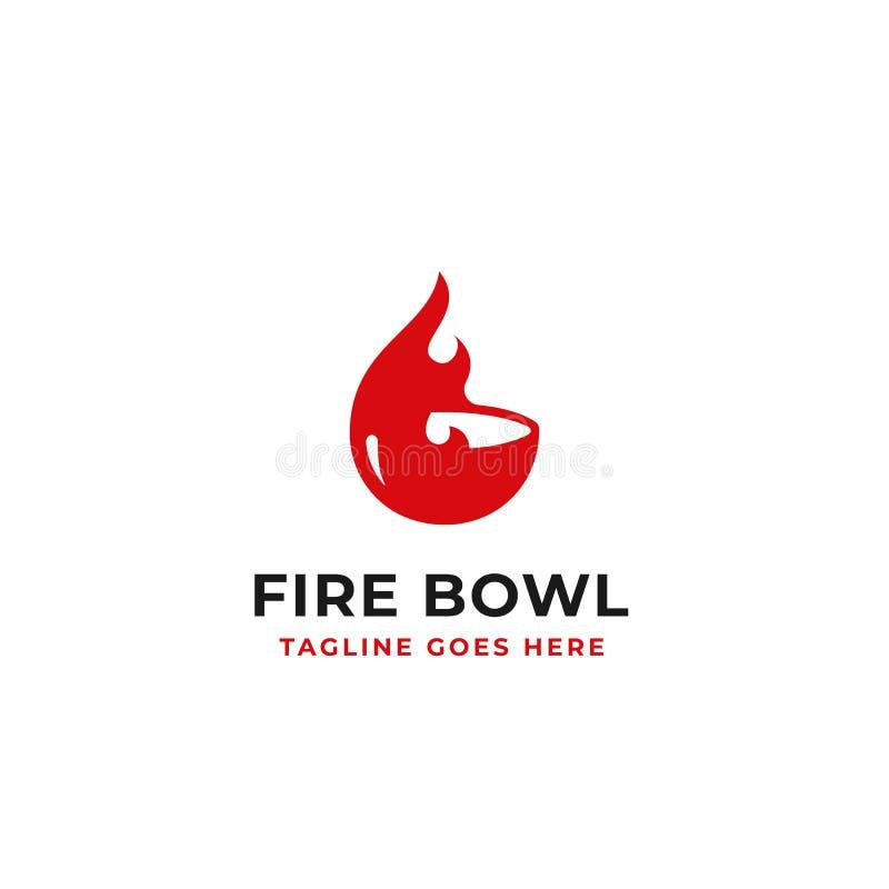Fire bowl simple creative logo design concept illustration stock illustration