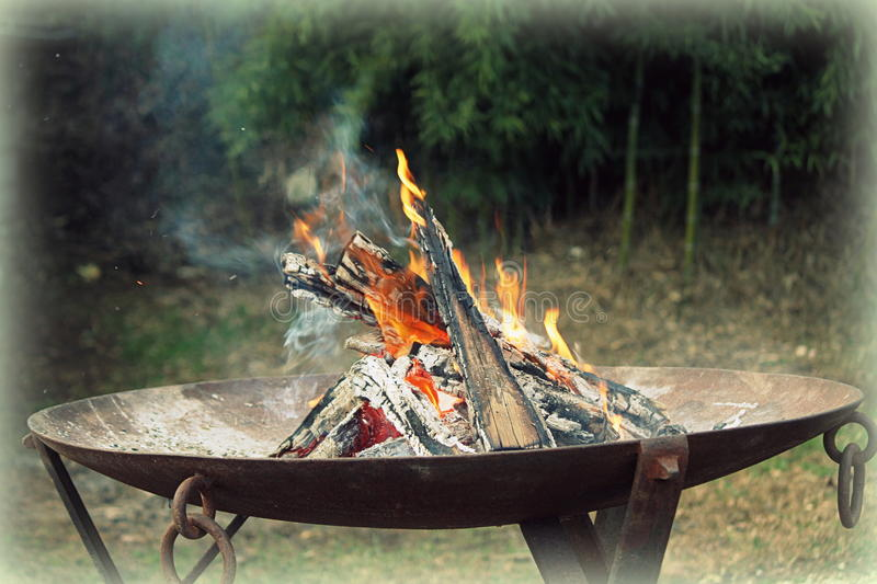 Fire in the brazier. A fire in the brazier royalty free stock photography