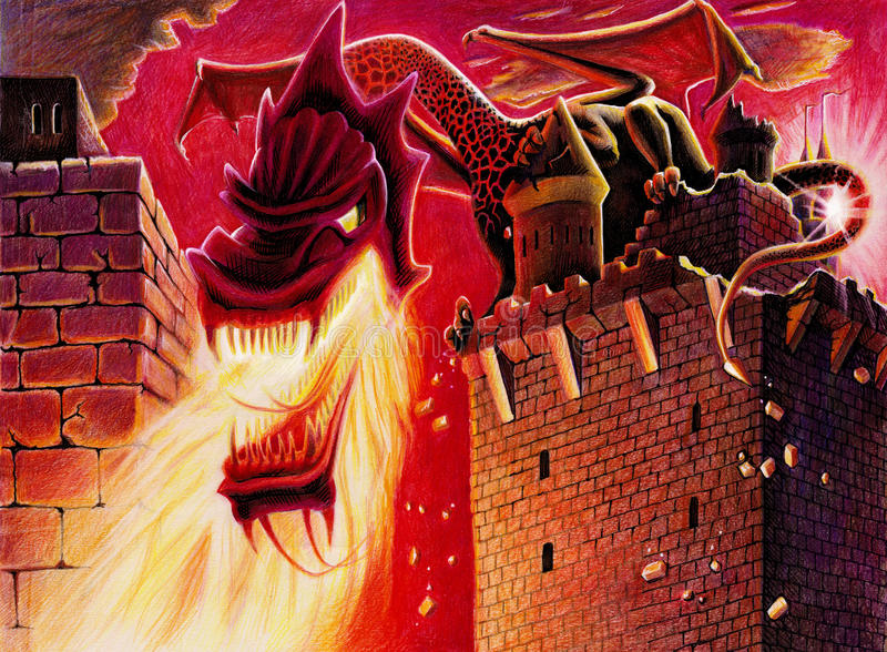 Fire breathing dragon. Performed in comic book style. It's made manually by color pencils on white drawing paper royalty free stock images