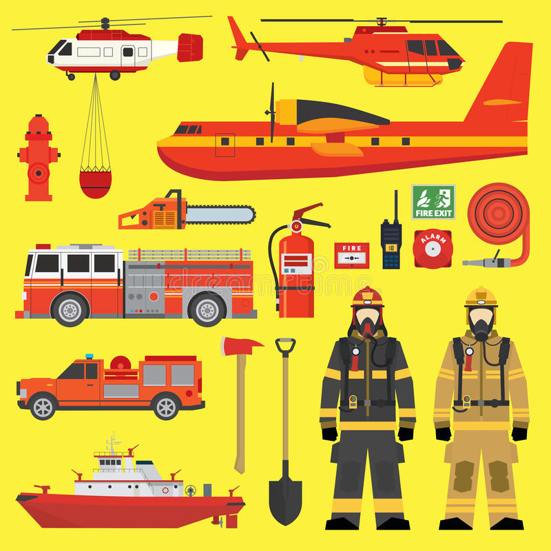 Fire brigade equipment infographics set stock illustration