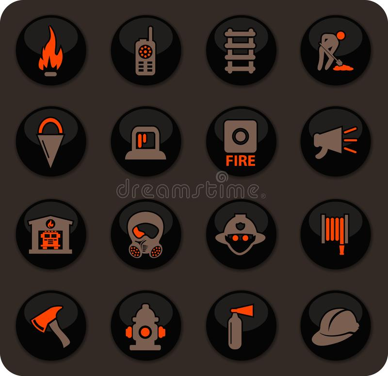 Fire-brigade icon set royalty free illustration