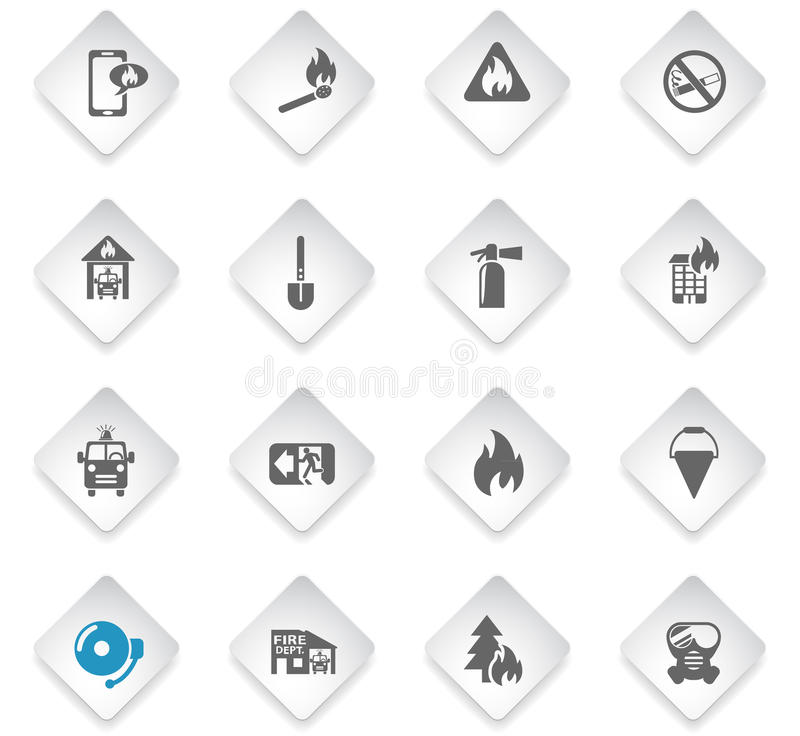 fire brigade icon set stock illustration