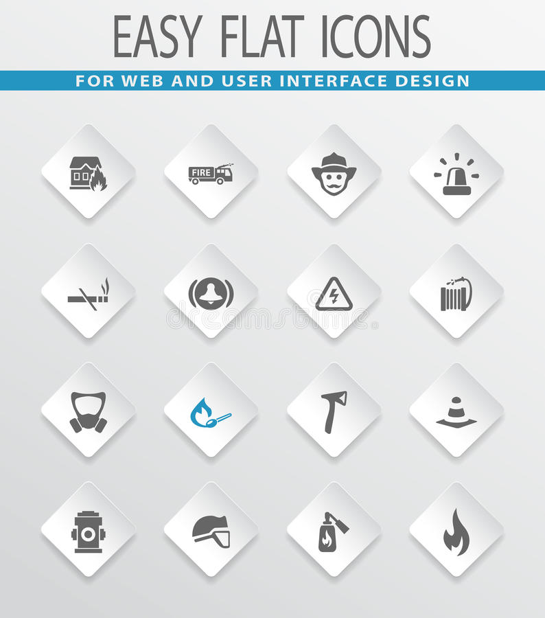 Fire brigade icons set royalty free illustration