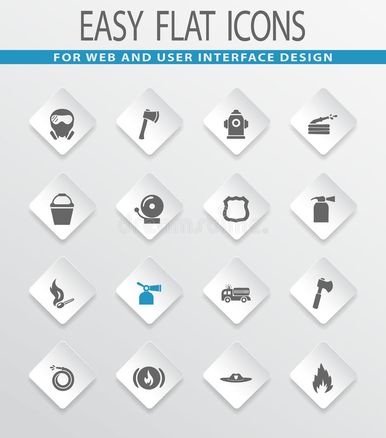 Fire brigade icons set stock illustration