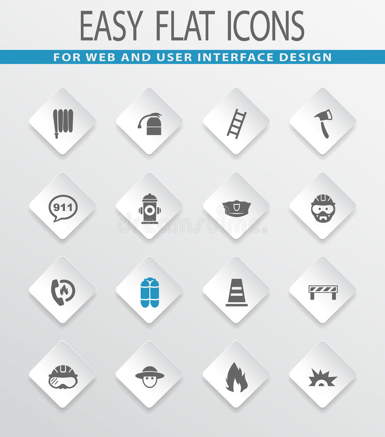 Fire brigade icons set. Fire brigade easy flat web icons for user interface design royalty free illustration