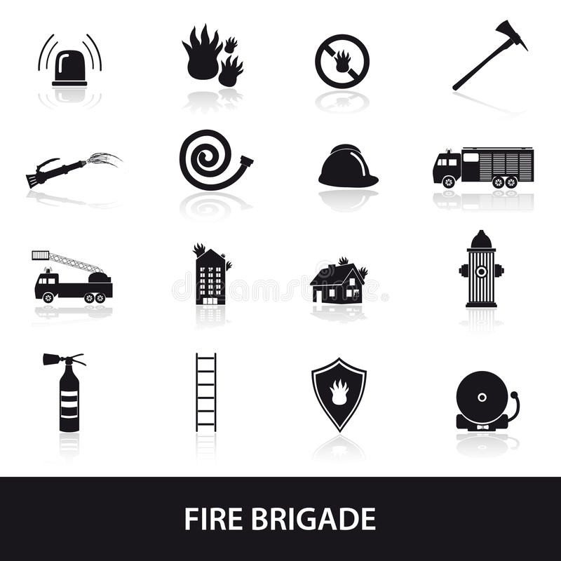 Fire brigade icons set eps10 stock illustration