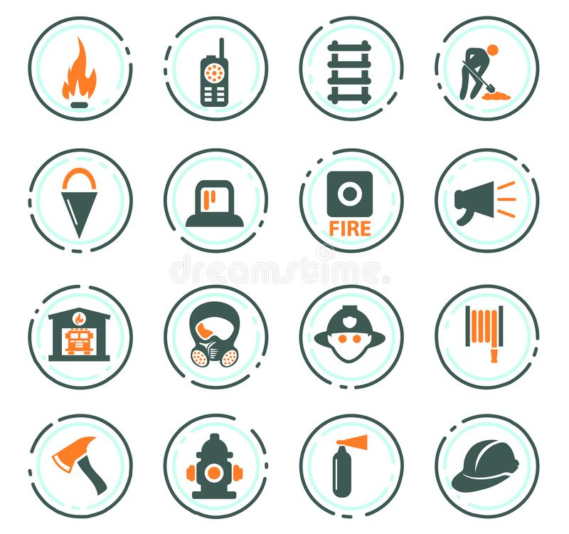 Fire brigade icons set vector illustration