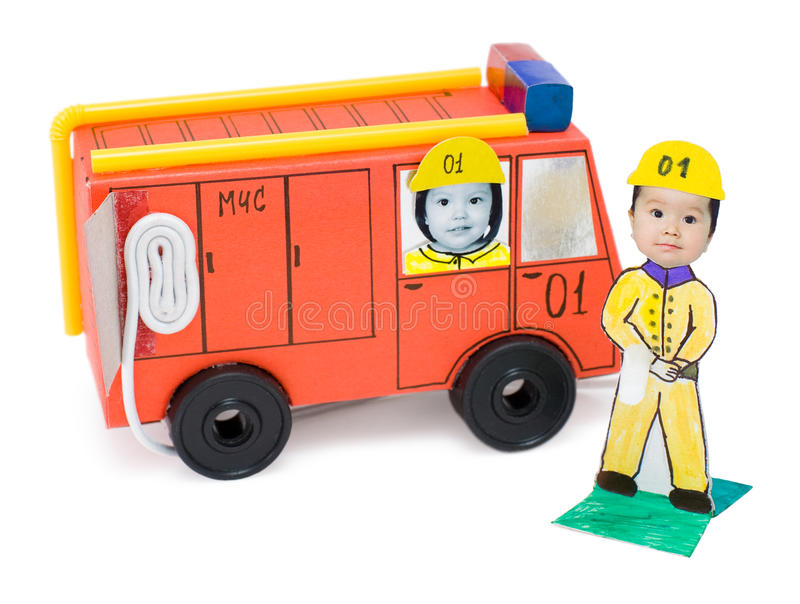 Download Fire Brigade, Kid's Cardboard Handicraft Stock Image - Image: 18955723