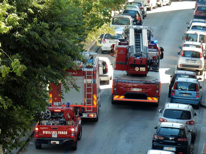 Fire Brigade vehicles to the rescue stock photography