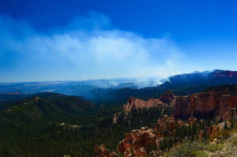 Fire at Bryce canyon national park royalty free stock images